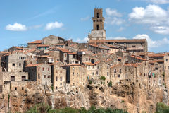 Small Tuscany Village On Cliff Royalty Free Stock Photo