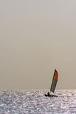 Small twin hull sailing boat on calm ocean. Royalty Free Stock Photography