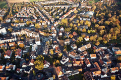 Small typical german small city of bonames in birds view. Aerial of small typical german small city of bonames in birds view stock photography