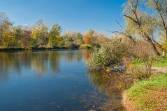 Small Ukrainian river Oril at fall season Royalty Free Stock Image