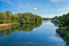 Small Ukrainian river Oril at sunny autumnal day Royalty Free Stock Photography