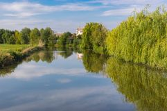 Small Ukrainian river Sura at quiet September day royalty free stock photo
