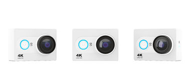 Small Ultra HD Action Camera. 3d Rendering Stock Photo