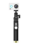 Small Ultra HD Action Camera with Extensible Selfie Stick Monopo Stock Photos