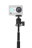 Small Ultra HD Action Camera with Extensible Selfie Stick Monopo Royalty Free Stock Photography
