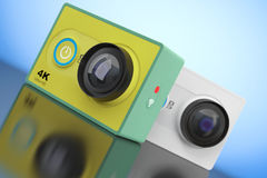 Small Ultra HD Action Cameras. 3d Rendering Royalty Free Stock Image