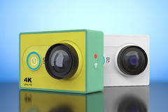 Small Ultra HD Action Cameras. 3d Rendering Royalty Free Stock Images