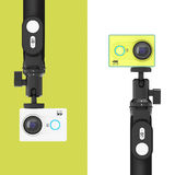 Small Ultra HD Action Cameras with Extensible Selfie Stick Monop Stock Image