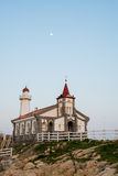 Small Unique Church Day blue sky moon Korea moon in sky Stock Images