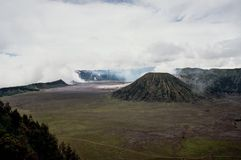 Mount volcano Batok, a sister volcano of mount Bromo stock photos