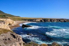 Small unspoilt beach and cliff in California central coast, mont Royalty Free Stock Photo