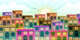 Small urban area with houses at dawn royalty free illustration