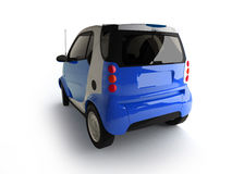 Small urban blue car back view Stock Images
