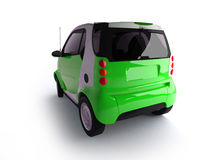 Small urban green car back view Royalty Free Stock Photos