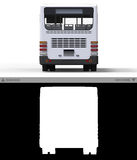 Small urban white bus on a  background with separate alpha channel. 3d rendering. Stock Image