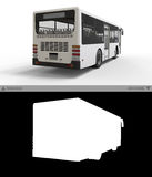 Small urban white bus on a  background with separate alpha channel. 3d rendering. Royalty Free Stock Images