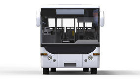 Small urban white bus on a white background. 3d rendering. Royalty Free Stock Photography