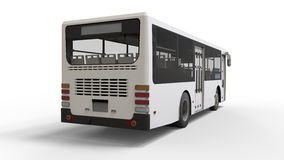Small urban white bus on a white background. 3d rendering. Stock Image