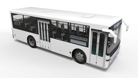 Small urban white bus on a white background. 3d rendering. Royalty Free Stock Photos