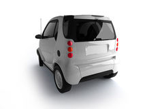 Small urban white car back view Royalty Free Stock Photo
