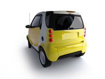 Small urban yellow car back view Stock Photos