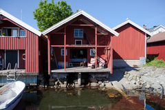 Small vacation home in Sweden. Small vacation homes on the swedish island of Käringön stock images