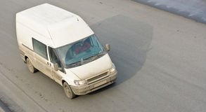 Small van bus on road. Isolated stock images