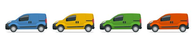 Small Van Car. Isolated car, template for car branding and advertising. Side view. Change the color in one click. All elements in groups on separate layers stock illustration