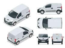 Small Van Car. Isolated car, template for car branding and advertising. Front, rear , side, top and isometry front and back. Change the color in one click. All stock illustration