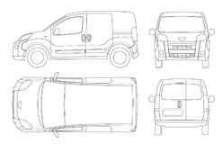Small Van Car in lines. Isolated car, template for car branding and advertising. Front, rear , side, top and back. All. Elements in groups on separate layers royalty free illustration