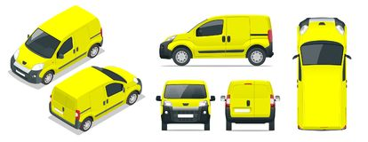 Small Van Car.  car, template for car branding and advertising. Front, rear , side, top and isometry front and. Back. Change the color in one click. All Stock Photography