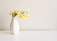 Small vase with spring flowers Royalty Free Stock Photo