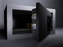 Small Vault. 3D illustration rendering of Small Vault Gold and US Dollar Stock Photo