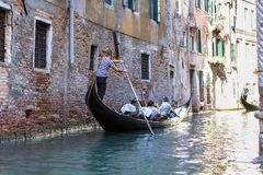 Small venetian canal, Venice, Italy. Small venetian canal and old brick houses in Venice, Italy Royalty Free Stock Photography
