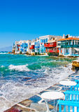 Small Venice in Mykonos Island Greece. The old part of Mykonos town in Mykonos island in Greece Royalty Free Stock Photos