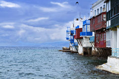 The small Venice of Mykonos island Stock Images