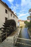 Small Venice in Prague, canal and watermill Stock Image