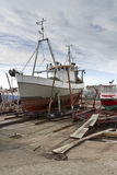 Small vessel in dry dock Royalty Free Stock Photography