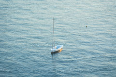 Small Vessel in Mar Menor. Small Vessel, without Sail on Mast- La Manga, Mar Menor Side, Cabo de Palos, Cartagena and San Javier, Murcia, Spain, Europe Stock Image