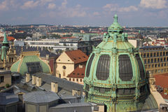 Small view of Prague. View of Prague from the Powder Tower. In the foreground you can see the dome of the Municipal House Stock Photography