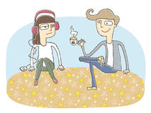 Small vignette illustration of a flirting couple Royalty Free Stock Photo