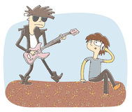 Small vignette illustration of loud guitarist. Illustration is in eps10  mode, elements are isolated in a group Stock Photography