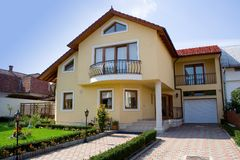 Small villa. In a rezidential zon from a city in Transylvania royalty free stock photo