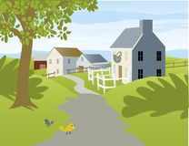 Small Village. Illustration of a small country village with cottages Stock Photography