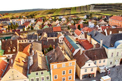 Small village. In front of green fields and vinyards Royalty Free Stock Photography