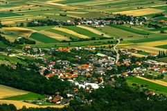 Small village aerial view Stock Photo