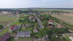 Small village aerial view stock footage