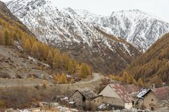 A small village in the Alpine mountains royalty free stock images