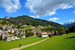The small village in alps  mountains Stock Images