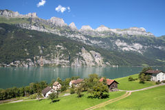 Small village in alps Royalty Free Stock Photo